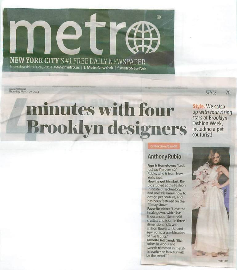 Bella Mia featured in the print edition of Metro NY for Anthony Rubio DFesigns