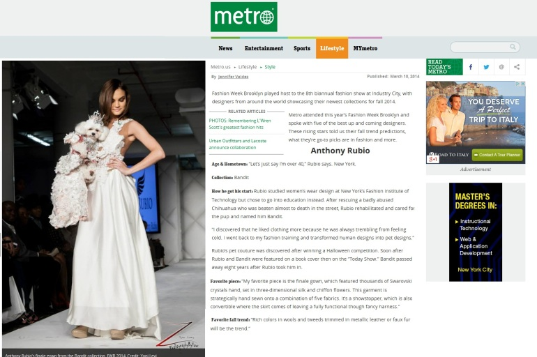 Bella Mia featured in Metro NY for Anthony Rubio DFesigns