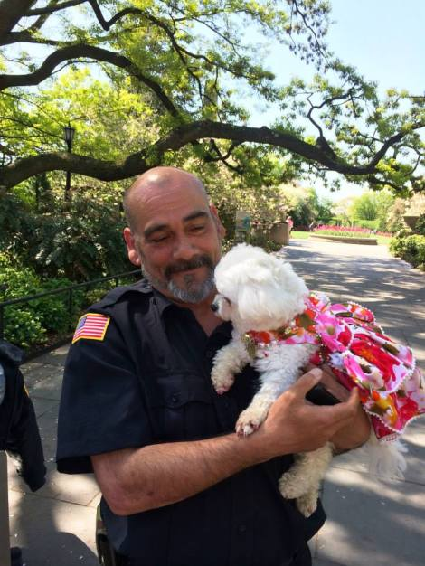 Officer Rodriguez falls in love with Bella Mia and is so happy to have our Beauty visit the Gorgeous Flowers at The Gardens
