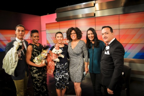 Bella Mia models for Anthony Rubio Design on the morning show Arise and Shine
